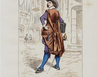 1881 Antique FASHION print. Paris Costumes for men Schoolboy of seventeenth century. Original antique