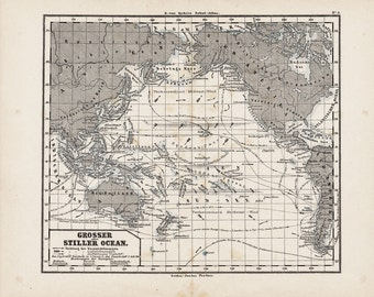 1873 Antique map of OCEAN CURRENTS from Justus Perthes, South Seas, world wide, original antique map 140 years older