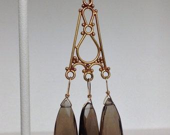 Long smoky quartz chandelier earrings - RESERVED