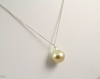 Golden Yellow South Sea Baroque Pearl, 14x12mm Pendant Necklace, Sterling Chain, AC0990 by Ashley Childs