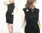 Vintage 1960s Black Cocktail Dress / 60s Little Black Dress with Back Button Closure