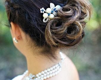 Blue Swarovski Crystal and Pearl Wedding Comb Wedding Hair Accessories Vintage Style Flower and Leaf Rhinestone Bridal Hair Comb SHARON