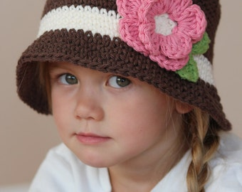 Brown cloche baby girl hat with flower, any sizes, brimmed crocheted hat