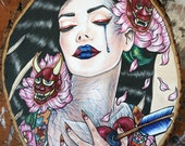 Birth of a Hannya - Original Oil Painting on wood  - 11 x 14 inches Lowbrow Fine Art Japanese Gothic Dark Art Woman Illustration Tattoo