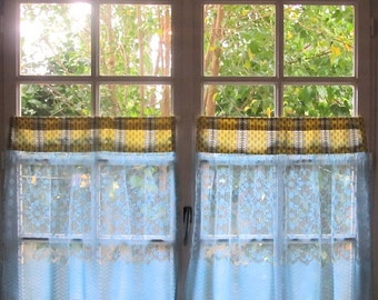 kitchen curtains aqua and yellow curtains pair cafe curtains blue