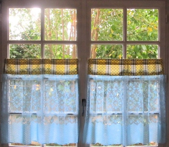 Blue And Yellow Kitchen Curtains: Provence Kitchen Curtains Aqua And Yellow Curtains Pair Cafe