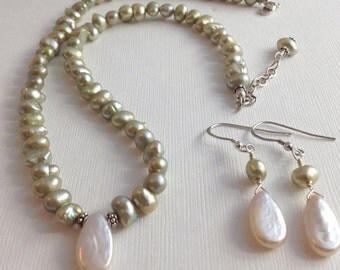 Pale Green Freshwater Pearl Necklace & Matching Earrings