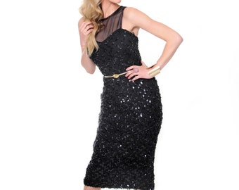 Cocktail O Clock, 1950s Vintage, Black Sequin Party Dress, from Paris