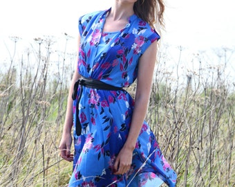 Electric Garden, Vintage, 1970s Blue Floral Midi Dress, from Paris
