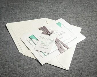 "Mint Wedding Invitations, Modern Beach Invites, Aqua, Teal, Grey - ""Modern Calligraphy"" Flat Panel, No Layers, v3 - SAMPLE"