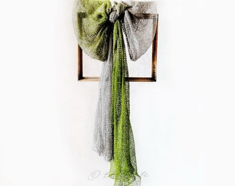 OOAK Ombre Natural Gray and Apple Moss Green Spring Long Linen Shawl