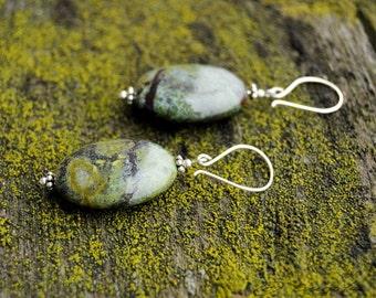 Green Bloodstone Earrings, Green oval earrings, Minimal earrings, Woodland earrings, Wild jewelry, Dangle earrings, Artisan earrings