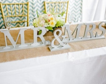 Mr and Mrs Wedding Signs for Sweetheart Table Decor - Table Signs Mr and Mrs Letters for Wedding Reception Decor ( Item - MB100 )