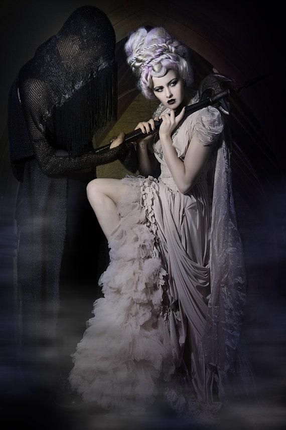 Fairytale Wedding Dress Gothic Bride Fashion Fantasy. A Chrisst Hand Draped Made to Order wedding dress Unique Fashion SPECIAL ETSY PRICE