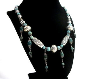 Silver and Turquoise Jasper Tassel Necklace Moroccan Style Beaded Jewelry for Women