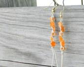 Orange Flower Hemp Earrings