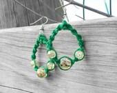 Green Macrame Earrings - Teardrop Hemp Earrings - Spring and Summer Dangles - Accessories for Her