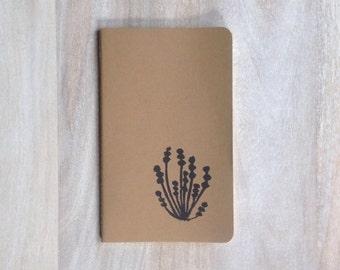 Natural Botanical hand printed large journal notebook nature