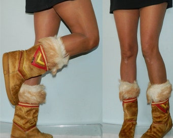 vintage fur boots size 9 70s 80s southwest muck lucks Italian