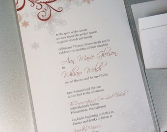 Silver and Red Snowflake Themed Winter Wedding Invitation