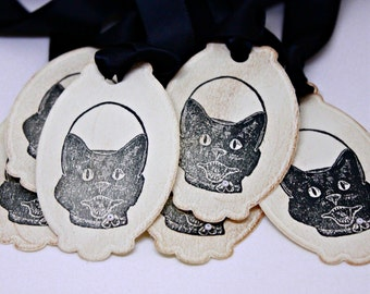 Halloween Gift Tags (Double Layered) - Black Cat Tags - Retro Halloween Tags - Vintage Inspired Handmade Halloween Tags (Set of 8)