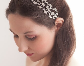 Iriana - Vintage style Jeweled Ribbon Headband - Silver