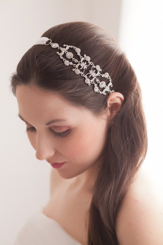 Iriana Vintage Style Jeweled Ribbon Headband Silver