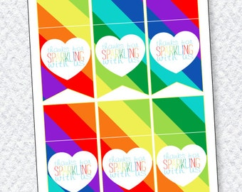 Rainbow Party PRINTABLE Favor Tags (INSTANT DOWNLOAD) from Love The Day