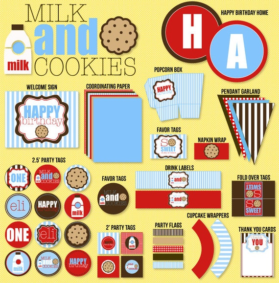 Milk & Cookie Party PRINTABLE Birthday Collection by Love The Day