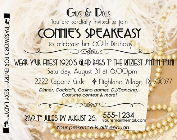 Gatsby Roaring 20's Speakeasy Invitation Twenties Wedding