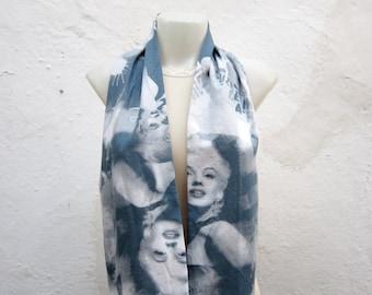 Marilyn Monroe infinity Scarf, Loop Fabric Scarves, Circle Neckwarmer, Neck Accessories, Tube Women Scarf, Winter foulard, White Blue Grey