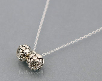 Silver lotus necklace, flower necklace, sister gifts