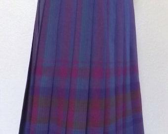 Vintage Pendleton Plaid Skirt Light Purple, Magenta Pink & Teal