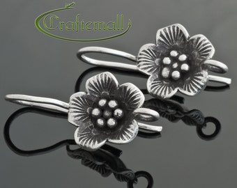 2 Sterling Silver Earwires - Bali ear wires with flower - one pair - hbew020