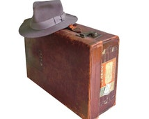 Distressed Leather Suitcase with Cunard Line Queen Mary Sticker