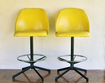 Two mid century modern bar stools bright yellow very nice - Bright colored bar stools ...