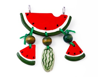 Watermelon Pendant Vintage Artisan Ceramic Fruit Vegetable Jewelry Kitsch Country Kitchen Cooking for Necklace Red Green Black White Lolita