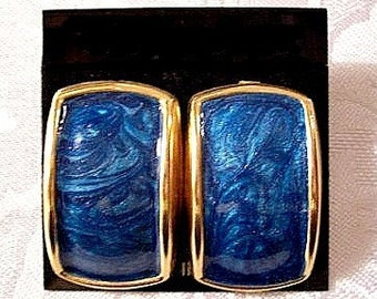 Blue White Pearl Marbled Pierced Stud Earrings Gold Tone Vintage Large Long Raised Rimmed Curved Squares