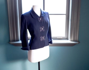RARE vintage Hollywood STARLET tailored JACKET / amazing floral appliqués / rhinestone encrusted buttons / Jackie O style