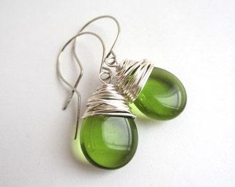 Green Earrings Wire Wrapped Earrings Green Jewelry Green Dangle Earrings Olivine Czech Glass Earrings