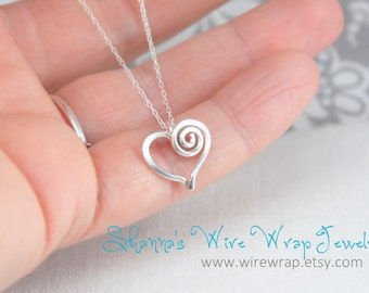 Silver Closed Swirl Heart Necklace - Sterling Silver