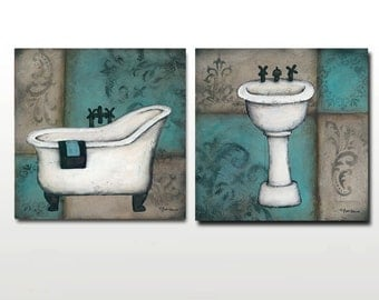 CLEARANCE Blue Bath Prints - Bathtub, Sink, or Both - Only 50 Signed Available
