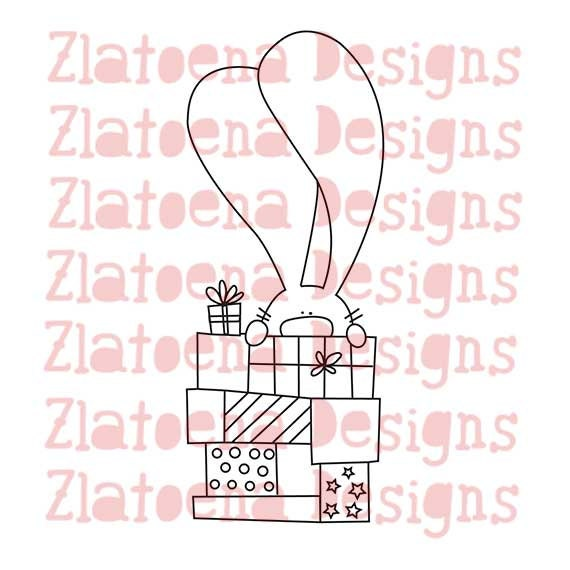 Digital stamp Bunny Birthday gifts, Printable Line art for Card and Craft Supply, Vector graphics, Digital image, Clipart commercial use