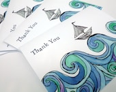 Sailboat on Ocean Waves Thank You Notes - Blue Green Watercolor Art Thank You Cards - Set of 8
