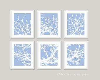Magnolia Tree Branches Digital Print Set of Six- Multi Panel Wall Art - Angel Blue - Woodland Contemporary Home Decor
