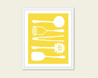 Cooking Utensils Digital Print Kitchen Wall Art - Yellow and White - Simple Home Decor - Under 20