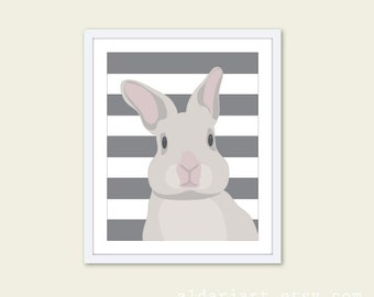Bunny Wall Art - Rabbit Art Print - Grey Rabbit with Stripes Nursery Decor - Rabbit Illustration - Aldari Art