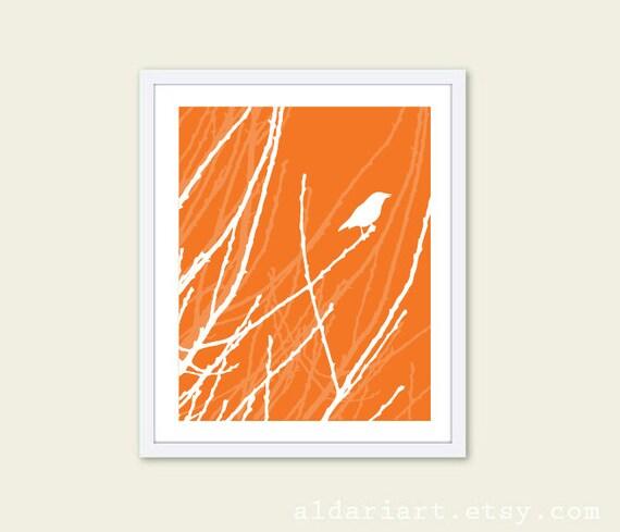 Spring Bird Art Print Tangerine Orange and White  - Bird on Twig Wall Art - Bird Spring Modern Decor
