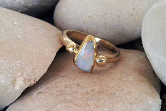 18k gold ring with natural opal, or your choice of precious stone, unique modern engagement ring, october birthstone