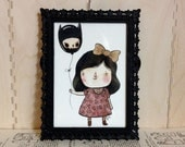 Black Balloon - framed ORIGINAL watercolour + ink illustration - cute girl bow frilly happy creepy dark scull scully goth Victorian red rose